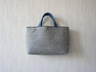 【受注制作】裂き織りのバッグ Mサイズ横長の画像