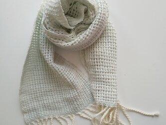 UV防止 手織りシルクコットンミニストール レース織り ライトブルー 925の画像