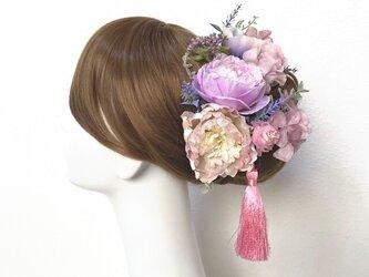 ウェディング・成人式に♡ラベンダーピンクの布花とラナンキュラスのヘッドドレス(15本セット) アネモネ 布花 結婚式 成人式の画像