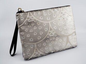 正絹袋帯ポーチバッグ - 月白の画像