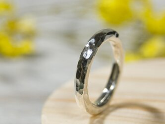 でこぼこ シルバーラウンドプレーンリング 3.0mm幅 鎚目 シルバー950 SILVER RING 指輪 シンプル 222の画像