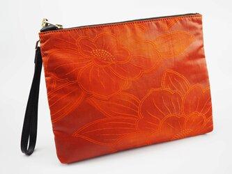 正絹袋帯ポーチバッグ - 紅樺の画像