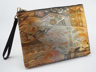 正絹袋帯ポーチバッグ - 琥珀の画像