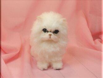羊毛フェルト 猫 チンチラシルバー ペルシャ猫 ねこ ネコ 猫フィギュアの画像