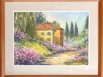 水彩画原画 湖畔のビラの画像