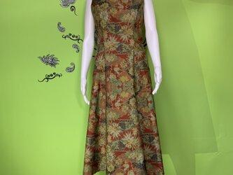 大島紬ワンピースドレス 紫苑の画像