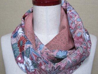 着物リメイク 上質な辻が花模様の小紋×作家物江戸小紋から上品なスヌードの画像