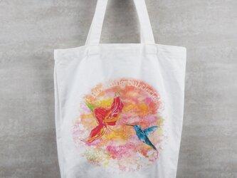 水彩プリントトートバッグ – ハナの画像