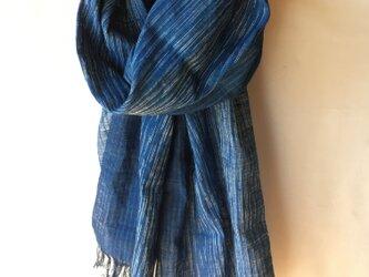 手紡ぎ糸・藍染めのストール M31-①の画像