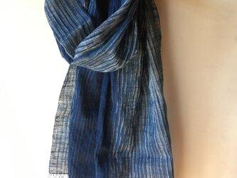 手紡ぎ糸・藍染めのストール M31-②の画像
