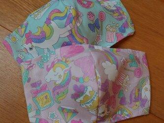 女の子柄パステル系2枚組■子供用 フィルタプレゼントの画像