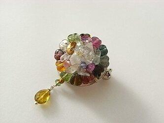 ハーキマーダイヤモンド*トルマリン*ブローチの画像