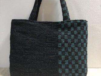 手織りトートバッグ 裂織りmの画像