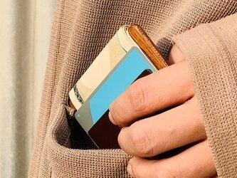 木と革のお札/カード入れ01の画像