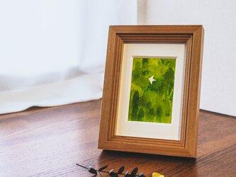 水彩原画『とんでいく』日々を愉しむちいさな絵 額装品の画像