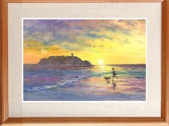 水彩画原画 夕暮れの江の島の画像
