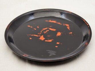 丸皿 朱漆黒漆研出の画像