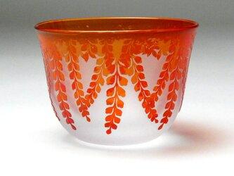 冷茶グラス 藤  紅色 蕨硝子 被せガラスの画像