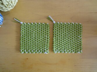 *再販* 手織りコースター みどりの画像