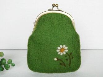 小花柄のフェルトがま口 グリーンリーフ色*受注制作*の画像