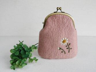 小花柄のフェルトがま口 ピーチピンク色*受注制作*の画像