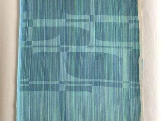 絹手染ハギレ(32cm×38cm 渋青薄緑)の画像