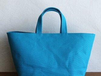 【受注製作】コバルトブルー 倉敷産8号帆布使用バスケット横の画像