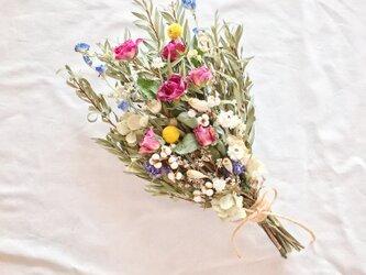 ローズピンクのバラのブーケ・スワッグ 母の日にも☆ ※ラッピングは別途ご購入お願いしますの画像
