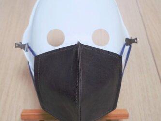 革マスク/カーフレザーとダブルガーゼの立体マスクの画像