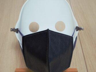 革マスク/カーフレザーとダブルガーゼの立体マスク/ツートンカラーの画像