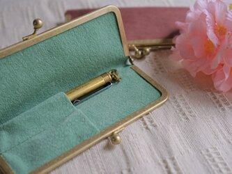 真鍮使いの口金ペンケース(ショート2本用)/ピンク×リーフグリーンの画像