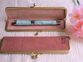 真鍮使いの口金ペンケース(1本用)/ピンク×アッシュピンクの画像