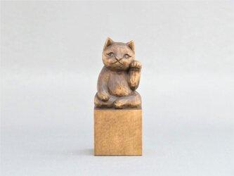 木彫り 左手で招き猫 蜜蝋仕上げ 猫仏2002の画像