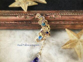 耳飾り:機械月イヤーカフ・青い星(gold)の画像