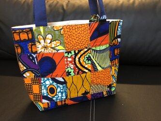 k156-アフリカ布パッチワーク保冷バッグ(中)の画像