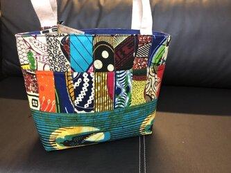 k157-アフリカ布パッチワーク保冷バッグ(中)の画像