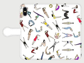 人文字でお名前入れ! ④ <ダンス&ヨガ> iphone 5s/6/6s/SE/7/8/X/XS/11 手帳型の画像