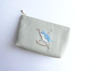 もったいない品:野鳥 手刺繍ポーチ ルリビタキの画像