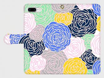 北欧デザイン フラワープリント② iphone 6plus/7plus/8plus/11pro/11pro MAX 専用 手帳型の画像