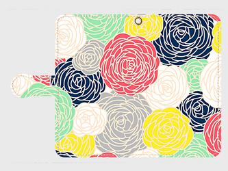北欧デザイン フラワープリント① アンドロイドLサイズ専用 手帳型スマホケースの画像