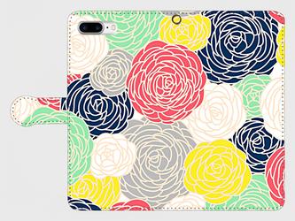 北欧デザイン フラワープリント①  iphone 6plus/7plus/8plus/11pro/11pro MAX 手帳型の画像