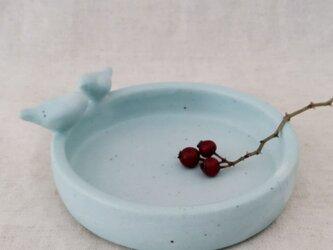小鳥トレイ(青)の画像