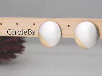 E-CircleBs  円盤のピアス真鍮プラス<鏡面/ツヤ消し 選択可>の画像