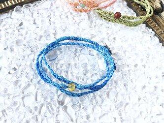 新色追加!天然石のマクラメ編みブレスレット【鼓動】ブルー系・シトリンの画像