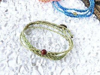 新色追加!天然石のマクラメ編みブレスレット【鼓動】グリーン系・ジャスパーの画像