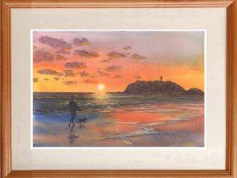 再販:注文制作します 水彩画原画 夕暮れの渚 #416の画像