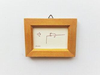 【受注制作】「鳥を待つ猫」小さな絵/原画/線画 ※額入りの画像
