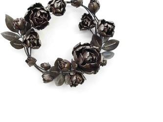 【鉄の植物 カセキの時間シリーズ】OKP-096 薔薇 リースの画像