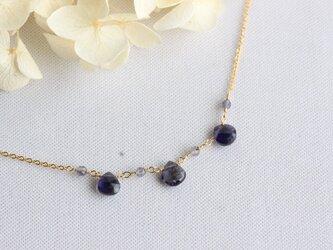 宝石質アイオライトのネックレス【K14gf】の画像