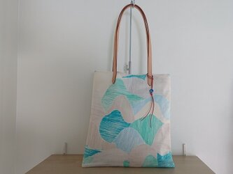 ダブルガーゼのトートバッグ(抽象ブロック柄)の画像
